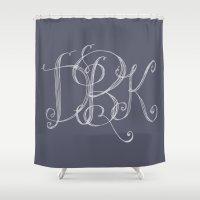 monogram Shower Curtains featuring monogram  by Le Petit Juif