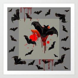 GREY ART OF FLYING BLACK BATS BLOODY  HALLOWEEN PARTY Art Print