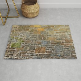 Avondale Brown Stone Wall and Mortar Texture Photography Rug