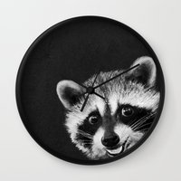 raccoon Wall Clocks featuring Raccoon  by Laura Graves