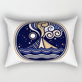 La Vita è Bella – Mediterranean Volcano in Tan Blue Palette Rectangular Pillow