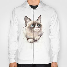 Grumpy Watercolor Cat Animals Meme Geek Art Hoody