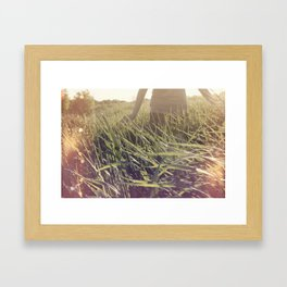 Playing in wheat Fields Framed Art Print