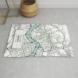 Seoul South Korea City Map with GPS Coordinates Rug