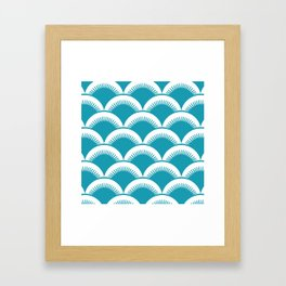Japanese Fan Pattern Turquoise Framed Art Print