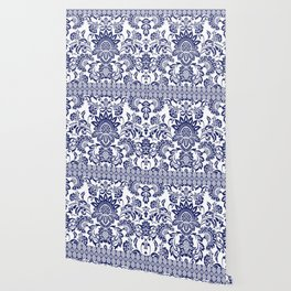 damask blue and white Wallpaper