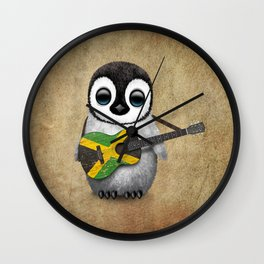 Baby Penguin Playing Jamaican Flag Guitar Wall Clock