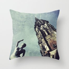 Ruined WW2 Church Throw Pillow