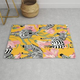 Striped For Life, Zebra Mid-Century Modern Bohemian Illustration, Jungle Tropical Eclectic Painting Rug