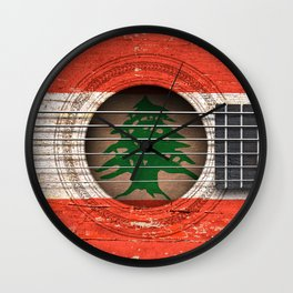 Old Vintage Acoustic Guitar with Lebanese Flag Wall Clock