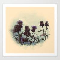 Thistles spike the summer air Art Print