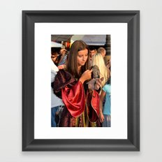 Renaissance Dressed Beauty and the Cute Little Beast Framed Art Print