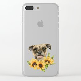 Cheerful | Bulldog Mix with Sunflowers Watercolor Painting Clear iPhone Case