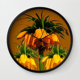 CARAMEL COLOR YELLOW CROWN IMPERIAL FLOWERS Wall Clock