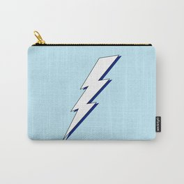 Just Me and My Shadow Lightning Bolt - Light-Blue White Blue Carry-All Pouch