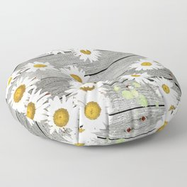 Daisies Scattered on a Wooden Floor Floor Pillow