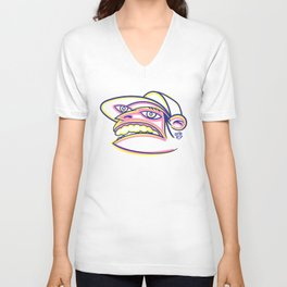 Skateboard Kid with Big Mouth and Crazy Eyes, Wearing Trucker Hat Unisex V-Neck