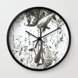 Milkweed Plant in Black and White Wall Clock