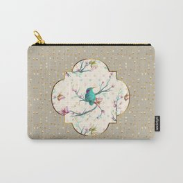 Hummingbird and Butterflies Gold Confetti Carry-All Pouch