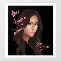 vampire diaries Art Prints featuring Elena Gilbert (The Vampire Diaries) by Ally Hsia