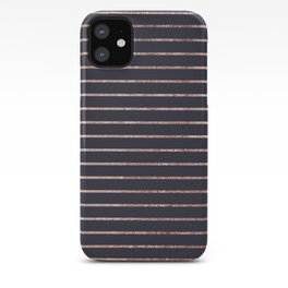 Elegant Chic Rose Gold Stripes and Navy Blue iPhone Case