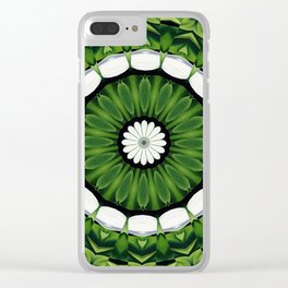 Tropical Green and White Floral Mandala Clear iPhone Case
