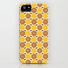 Bright Christmas pattern with oranges, ginger cookies and cinnamon. The smell of happy new year and Christmas iPhone Case