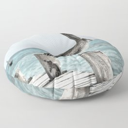 Seabirds on a Pier Floor Pillow