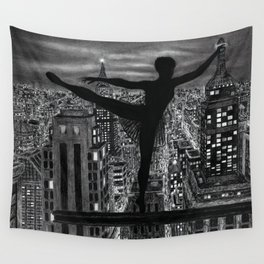 Untitled - Charcoal Drawing - ballet, cityscape, female figure, silhouette Wall Tapestry