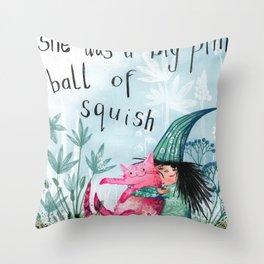 big pink ball of squish Throw Pillow
