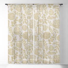 Gold Flower Pattern Sheer Curtain
