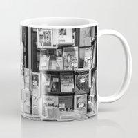 italian Mugs featuring Italian Bookshop by Zeno Photography