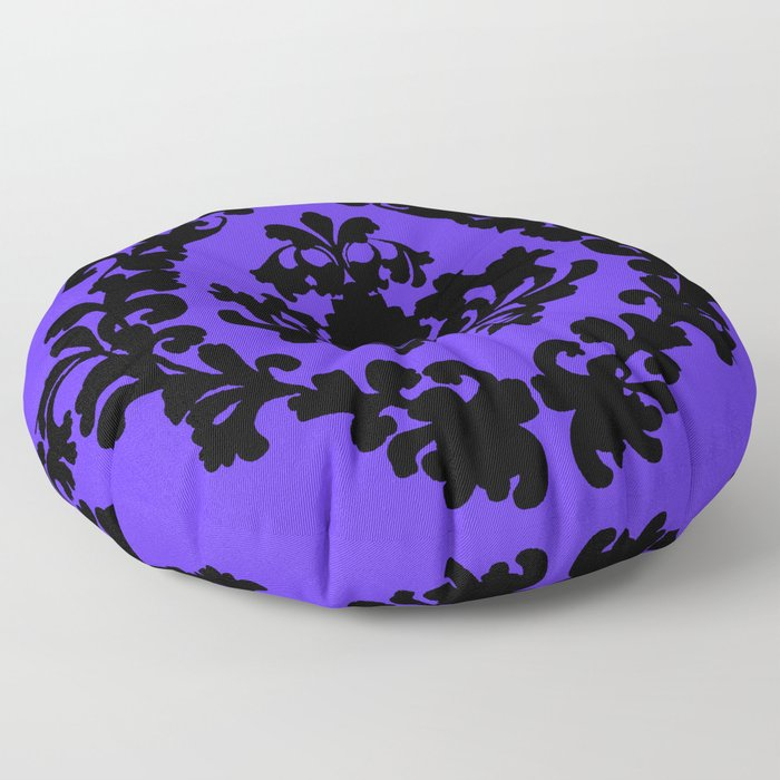 Victorian Damask Purple and Black Floor Pillow