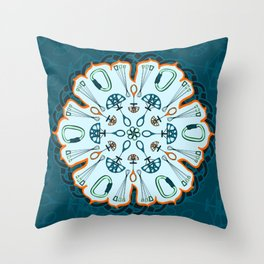 Trad Climbing Mandala Throw Pillow