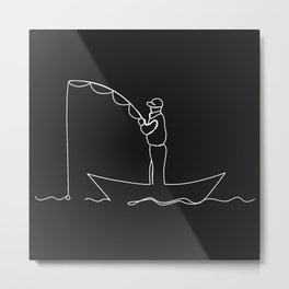 The man is fishing from the boat.  Metal Print