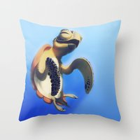 turtle Throw Pillows featuring Turtle by Anya McNaughton
