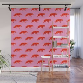 Vintage Cheetahs in Coral + Red Wall Mural