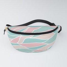 Waves Pattern Pink Green Aquamarine Fanny Pack