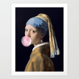 Girl with a bubble gum Art Print