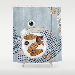 Croissants With Cherry Jam Shower Curtain