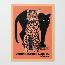 Retro vintage Munich Zoo big cats Canvas Print