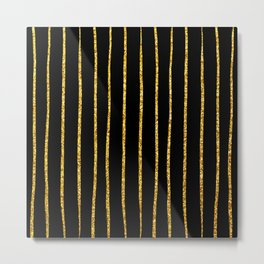 Art Deco Glitter-Gold Vertical Wavy Lines on Black Metal Print
