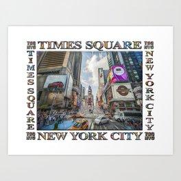 Times Square Traffic (digitally repainted poster) Art Print