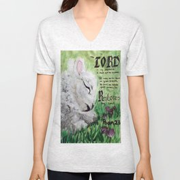 The Lord Restores Psalm 23 Unisex V-Neck