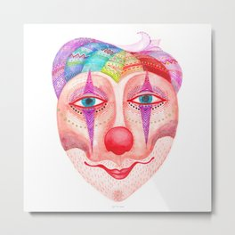 trust the clown mask portrait Metal Print