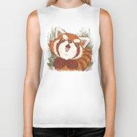 red panda Biker Tanks featuring Panda by Toru Sanogawa