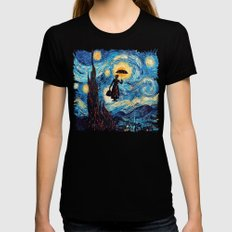 mary poppins Starry Night oil painting iPhone 4 4s 5 5c 6, pillow case, mugs and tshirt Black SMALL Womens Fitted Tee