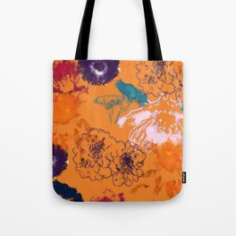 fall floral orange Tote Bag