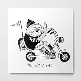 Sloth riding a bike Metal Print