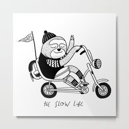 Sloth riding a bike Metal Print